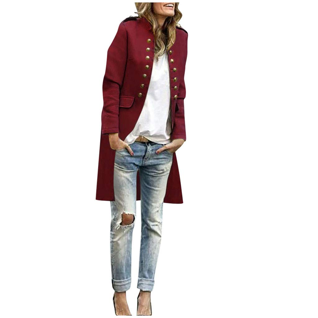 Willow S Women's Long-Sleeved Woolen Jacket Casual Solid Color Cardigan Pocket Lapels Button Long Coat Jacket S-2XL Wine by Willow S