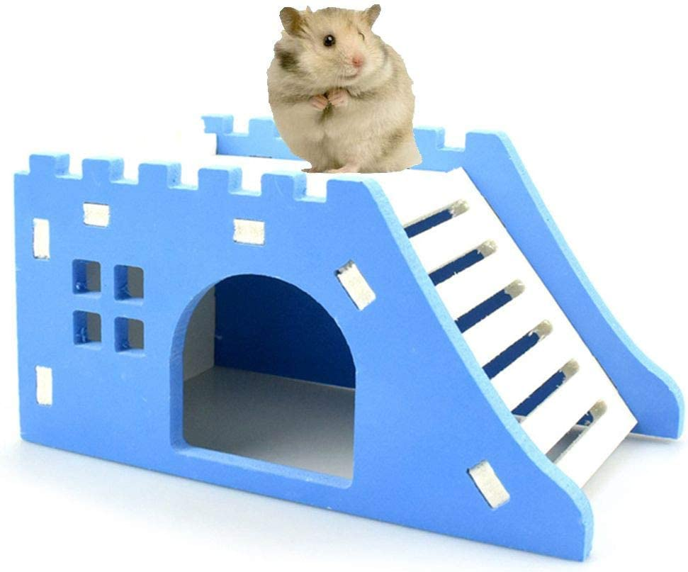 7cm 7 Small Animal Activity Toy House with Ramps for Pet Dwarf Hamster Gerbil Rat Mouse size 14.5 Vi.yo Hamster House Wooden Green