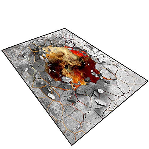 Price comparison product image Printing Rug for Living Room 3D Effect Trap.Dark Cracked Broken Hole in Concrete Wall.068 (2) Home Bathroom