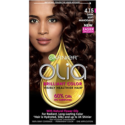 Garnier Olia Ammonia Free Permanent Hair Color, 100 Percent Gray Coverage (Packaging May Vary), 4.15 Dark Soft Mahogany, Brown Hair Dye 1 Kit