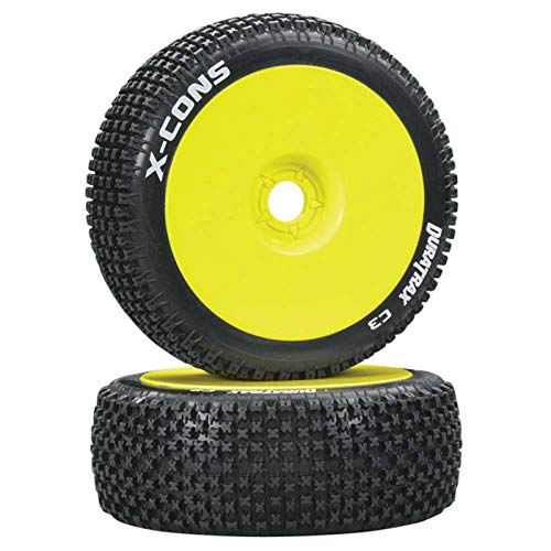 - Duratrax X-Cons 1:8 Scale RC Buggy Tires with Foam Inserts, C3 Super Soft Compound, Mounted on Yellow Wheels (Set of 2)