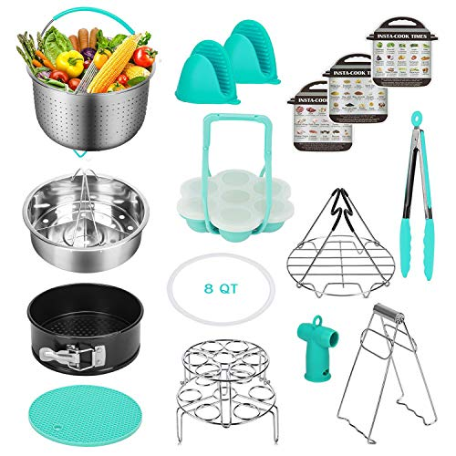 Accessories for Instant Pot Compatible with 8 Qt - Stainless Steel Steamer Basket, Springform Pan, Egg Steamer Rack, Silicon Egg Bites Mold and More (8 QT)