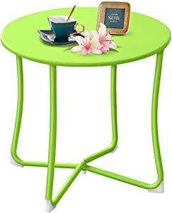 """Amagabeli Metal Patio Side Table 18"""" x 18"""" Heavy Duty Weather Resistant Anti-Rust Outdoor End Table Small Steel Round Coffee Table Porch Table Snack Table for Balcony Garden Yard Lawn,Lime Green"""