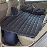 Car Inflatable Mattress Car Bed Mobile Cushion Camping Air Bed with Motor Pump, Two Pillows for Travel and Sleep Rest, Black