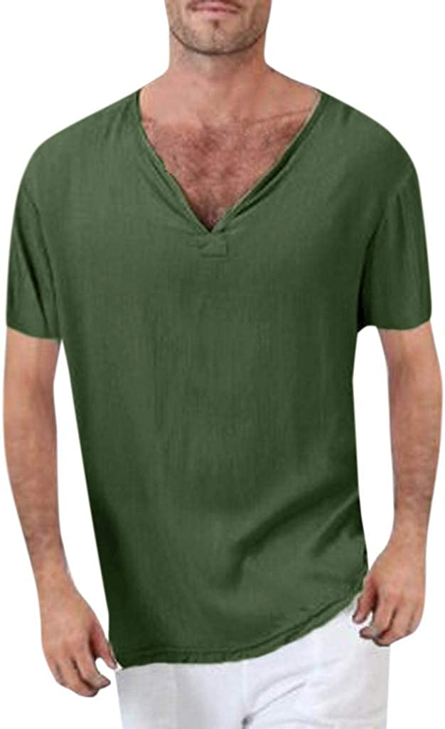 Shirt for Men F/_Gotal Mens Summer T-Shirt Cotton Linen Thai Hippie Shirt V-Neck Beach Yoga Tops Loose Fit Blouse Tops