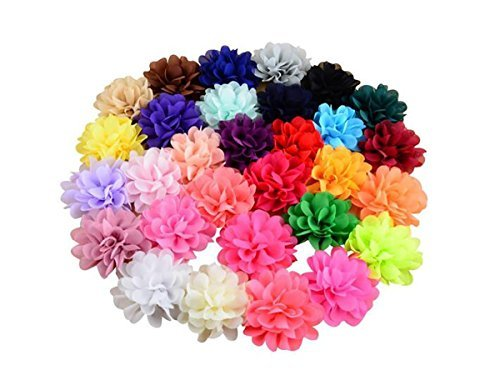 30PCS Women Girls 30 Solid Colours 4'' Chiffon Fabric Flowers Baby DIY Flower Headbands Decorative Wedding Flowers by Flyott