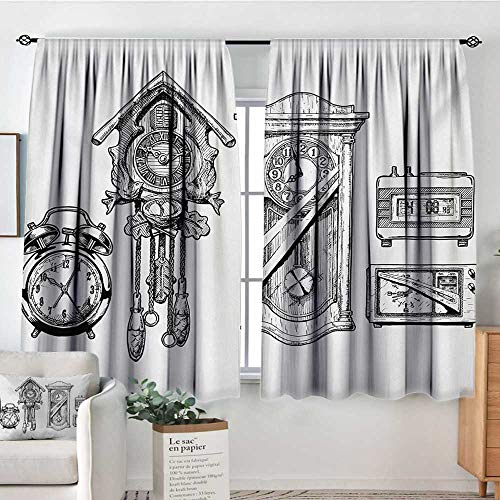 All of better Clock Patterned Drape for Glass Door Vintage Clocks Set in Ink Hand Drawn Style Retro Monochromatic Illustration Waterproof Window Curtain 55