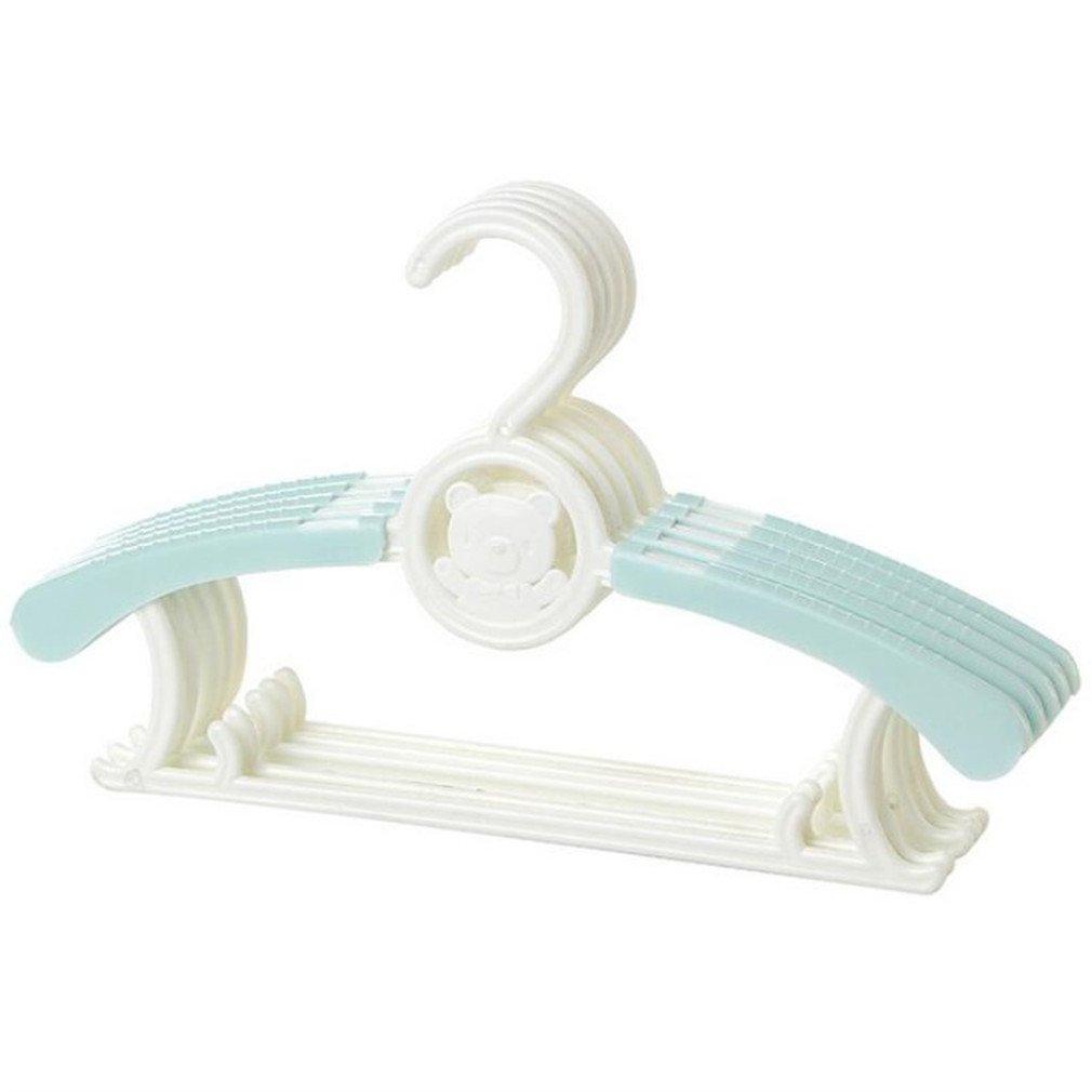 MIAOQUTONG 1Pc Magic Multi-Functional Adjustable Plastic Baby Hangers Clothing Drying Rack green
