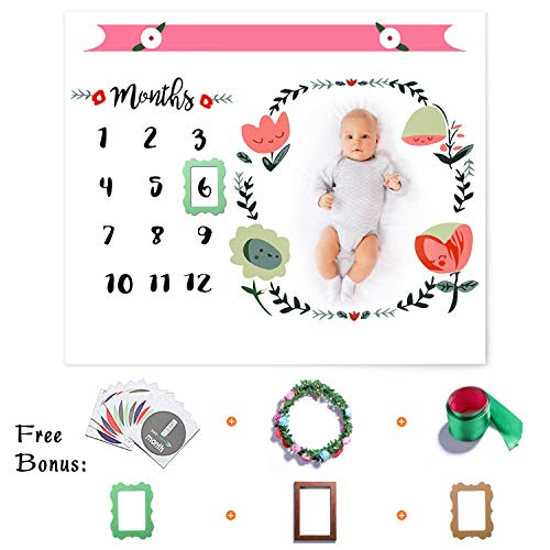 Baby Monthly Milestone Blanket for Girl Boy, Floral Photo Props Personalized Photography Backdrop for Newborn Infant Month Growth Pictures, Unisex New Baby Twins Swaddle Shower Gift