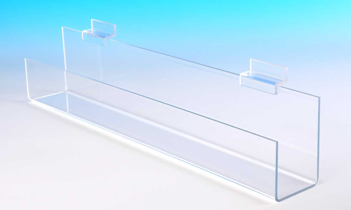 Choice Acrylic Displays Slatwall J Shelf with Flat Bottom and Open Ends - Qty of 4 (ZQ12: 2-1/2''H x 12'' W x 2-1/4''D)