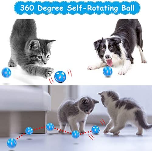 uniwood Interactive Cat Toy Ball, USB Rechargeable Motion Ball, 360 Degree Self Rotating Ball with Red LED Light, for Kitty's Indoor Play and Exercise 5