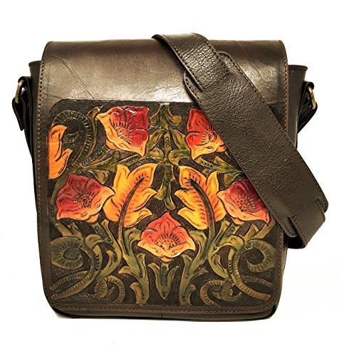 Juno Vintage Floral Artisan Leather Handmade Adjustable Messenger Cross Body Handbag Designer Gift for Women (Painted Hand Vintage Button)