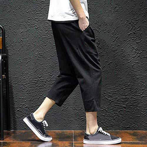 Allywit Men's Loose Fit Elastic Waist Patchwork Shorts Harem Capri Pants Lounge Linen Harem Pants Big and Tall Black by Allywit-Pants (Image #5)