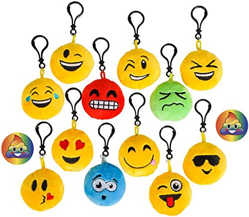 Emoji Backpack Keychains Set of 24, & 2 Rainbow Poop Pins, Cute, Soft Plush Pillow 2.5 inch Smile, Tongue out, Kissy, Wink, Heart Eyes & More, Party Supplies, Favors, Collectible