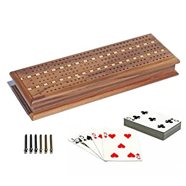 WE Games Cabinet Cribbage Set - Solid Walnut Wood with Inlay Sprint 3 Track Board with Metal Pegs & 2 Decks of Cards