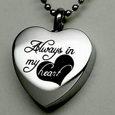 """"""" Always in My Heart """" Cremation Jewelry Silver Urn Necklace Pendant Memorial Keepsake By Maymii"""