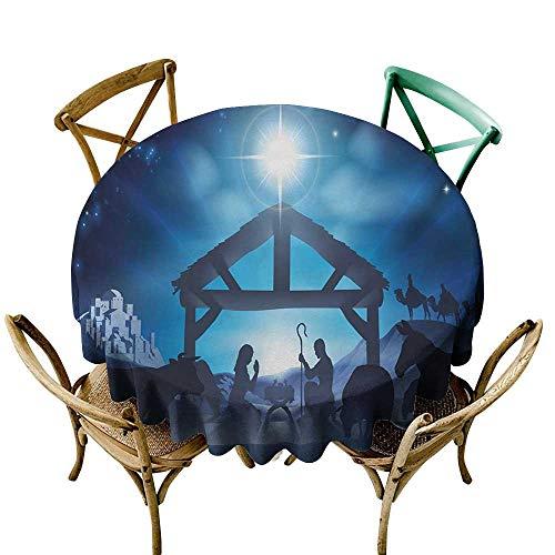 crabee Round Tablecloth Plastic Blue,Birth Scene in Bethlehem with Christmas Star Barn Animals Magical Night,Grey Dark Blue Sky Blue D50,for -