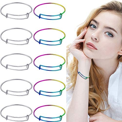 20 Pieces Expandable Bangle Bracelets Adjustable Wire Blank Bangles Gradient Charm Bracelets Metal Blank Bracelets for DIY Christmas and Valentine's Day Jewelry Making Bridesmaid Proposal Present