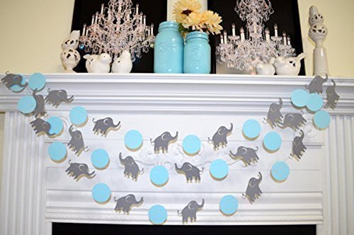 Elephant Garland, Elephant baby shower Decorations, Blue & Gray elephant Nursery Decoration - Gray elephant, Baby Shower decorations (Blue And Gray Baby Shower)