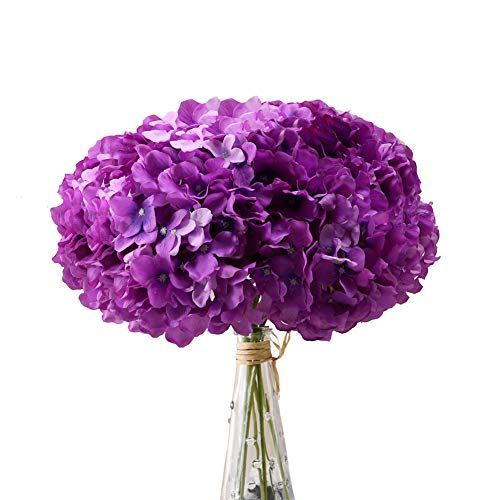 Dark Purple Silk Flowers (Aviviho Hydrangea Silk Flowers Purple Heads with Stems Pack of 10 Full Hydrangea Flowers Artificial for Wedding Home Party Shop Baby Shower)