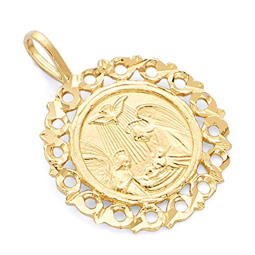 Wellingsale 14K Yellow Gold Polished Ornate Religious Baptism Charm Pendant