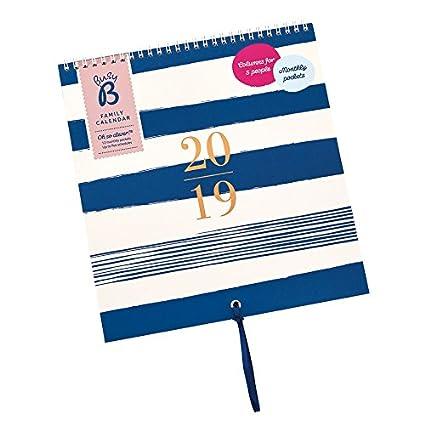 Busy B - Calendario familiar 2019 para hasta 5 personas con 12 bolsillos mensuales, pegatinas y lazo, diseño de rayas