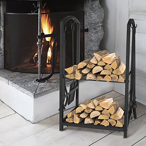 Log Rack Fireplace Tool Sets Black Wrought Iron Firewood Storage Holder Fireplace Wood Carrier Fireside Lumber Stacking Log Bin Brush Shovel Poker Tongs 17.8 x 11.8 x 29.3in ()
