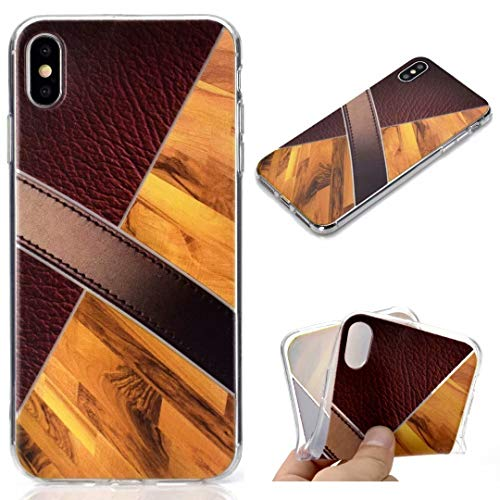 iPhone X/iPhone Xs Case, Futanwei Marble Geometric+Wood Texture+Color Matching Design Clear Bumper Case Ultra Slim Premium TPU Soft Flexible Lightweight Thin Cover for Apple iPhone X/XS 5.8