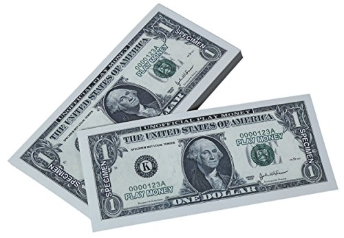 Toy Money 100 : Paper playing money one dollar bills pretend play