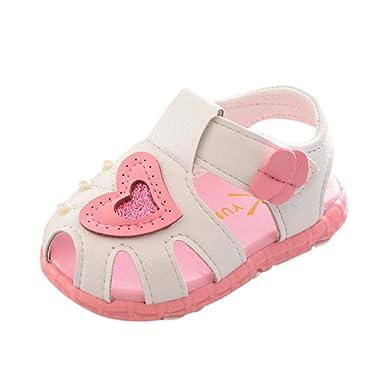 e5c93b54387d7 Zapatos de Verano para Bebé 💋💝 Yesmile Zapatos con Corazón para Recién  Nacido Niñas Zapatillas de Deporte Antideslizante Suave Sandalias con  Perla  ...