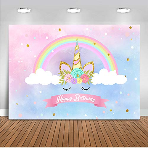 med Backdrop Rainbow Unicorn Cloud Photography Background 7x5ft Vinyl Unicorn Themed Happy Birthday Party Banner Backdrops ()