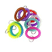 These colorful spiral coil wrist key ring made from high quality durable plastic.  Introductions: 1. Pack of 10  2. Color: random  3. Diameter: 55mm(external)  4. Ring size: 25mm  5. Soft and flexible that fits any size wrists.  6. With bright colors...