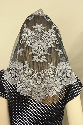 Silver Black Spanish Veils and Mantillas Catholic Church Chapel Lace Large -SBSP (Black And Spanish)