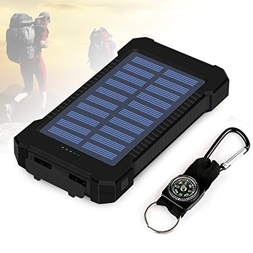 Foreverrise 10000mAh Solar Charger Dual USB Battery Pack Portable Phone Solar Power Bank Waterproof Battery Charger with LED Light and Carabiner with Compass Pack for Most USB Devices(Black)