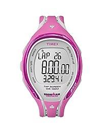 Timex Women's T5K591 Ironman Sleek 250-Lap TapScreen Pink/Gray Resin Strap Watch