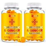 (120 Gummies) Turmeric Curcumin Gummy Supplement w Ginger Chews for Joint Pain Relief, Immune Support Boost for Kids…