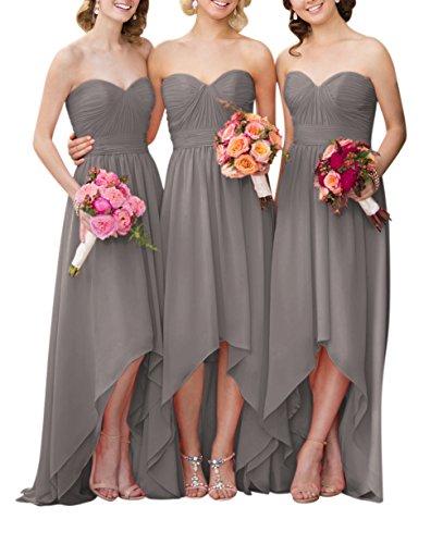 287d68ca73 Yangprom Sweetheart Ruched Chiffon A-line High Low Bridesmaid Dress ...