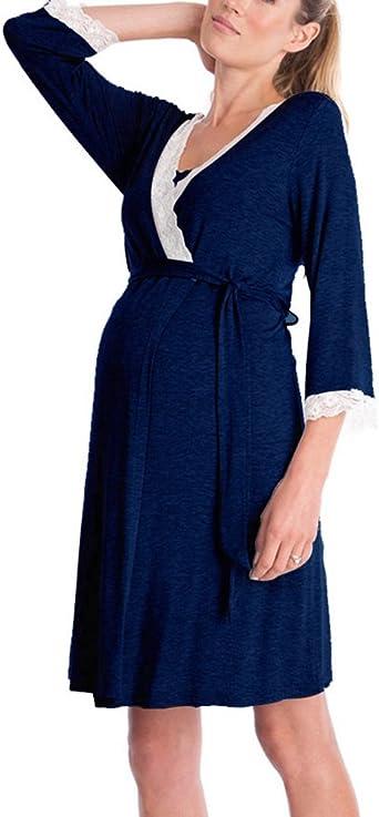 Camisa de Lactancia Casual V Cuello Ropa de Dormir de Las Mujeres Estiramiento camisón de Maternidad 3/4 Mangas Vestido de enfermería: Amazon.es: Ropa y accesorios