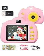 Hangrui Digitale kindercamera, 12 megapixel HD kinderselfiecamera, oplaadbare kindercamera, 2,4 inch display, dubbele lens mini actiecamera, met stickers