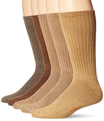 Dockers Men's 5 Pack Cushion Comfort Sport Crew Socks, Khahki/Brown Asst, Shoe Size: 12-15 Size: 13-15