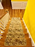 New self-adhesive non-slip carpet stair treads | safety for kids and seniors | pet friendly | wooden stair protection | home decor (30'' x 9'', beige, indoor, washable) | Set of 13