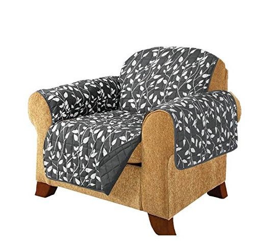 MN 1 Piece Grey Floral Theme Chair Protector, Geometric Flower Pattern Couch Protection Flowers Floral Plants Leaves Furniture Protection Cover Pets Animals Covers Nature Motif, Polyester by MN