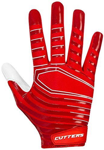 Glove Football Receiver Cutters (Cutters Gloves S252 Rev 3.0 Receiver Gloves, Red, X-Small)
