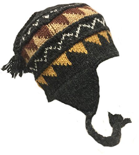 Nepal Hand Knit Sherpa Hat with Ear Flaps, Trapper Ski Heavy Wool Fleeced Lined Cap (Extra Large Head Brown & (Sherpa Lined Flap Hat)