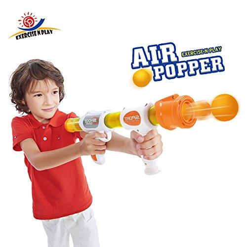 EXERCISE N PLAY Rapid Fire Atomic Power Pump Action Popper Air Powered Blaster Shooter Gun Foam Ball Battle Toy for Kids Ball Shooter