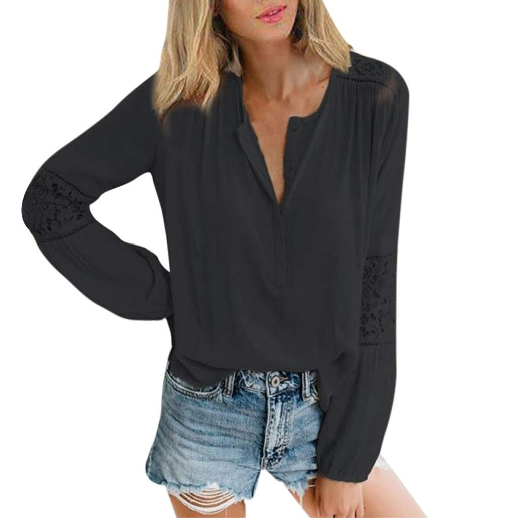 Womens Lace Patchwork Shirts V-Neck Long Sleeve Top Loose Sweatshirt Blouse Black