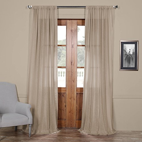 Half Price Drapes Shflnch-M020-96 Faux Linen Sheer Curtain, 50 x 96, Vintage Peony (Linen Peony)