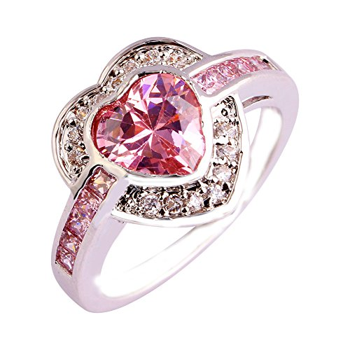 Empsoul Women 925 Sterling Silver Natural Chic Filled Pink & White Topaz Heart Shaped Engagement Wedding Ring