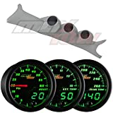 MaxTow 99-07 Gray Ford Super Duty PowerStroke Gauge Package Black Face Boost, EGT & Trans Temp