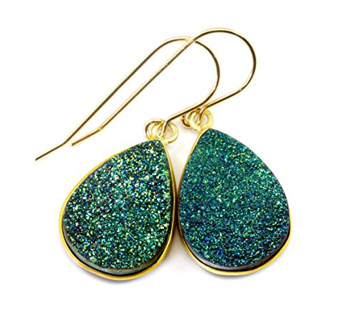 14k Gold Peacock - 14k Gold Filled Drusy Earrings Peacock Blue Green Druzy Large Teardrop Goldtone Bezel Set Simple Drops